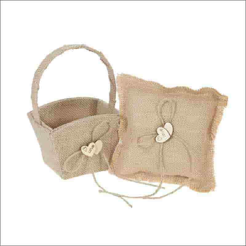 cesta y cojin anillos de boda