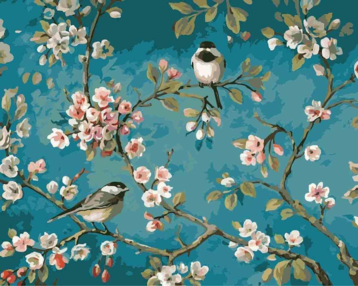 pintara numeros de pajaros y flores